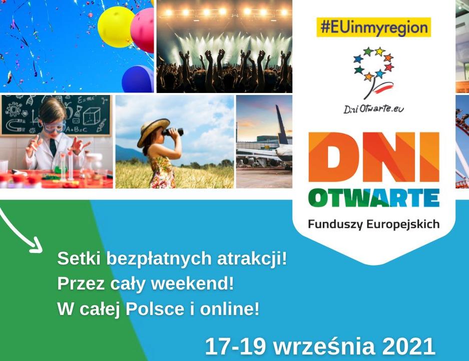 plakat reklamująy dni otwarte Funduszy Europejskich